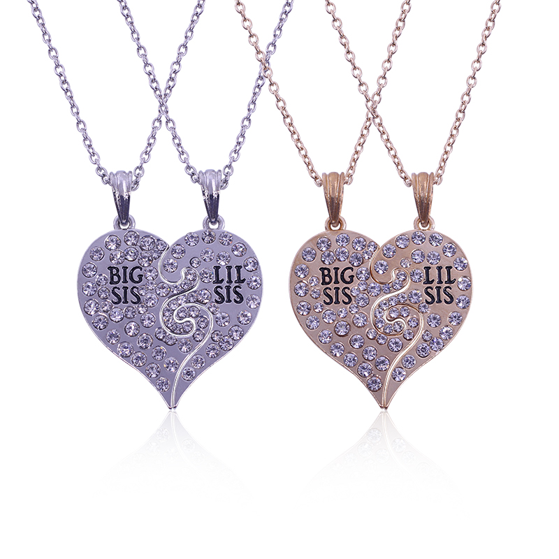2PC/Set Big Sis Lil Sis Big Sister Little Sister Necklace Best Friends Forever Broken Heart Necklace Rhinestone Pendants Gifts
