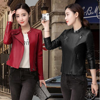 2017spring New Style Women Custom Fit Leather Jackets 5XL Korean Women Black Short Leather Coat Motorcycle