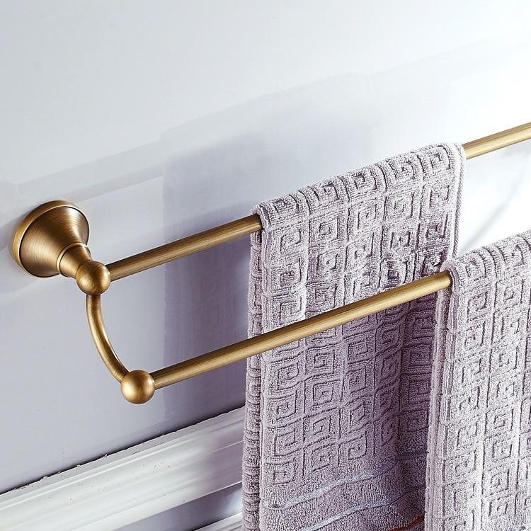 AUSWIND Antique en laiton massif salle de bain Double porte-serviettes Bronze brossé salle de bain support étagères GF5