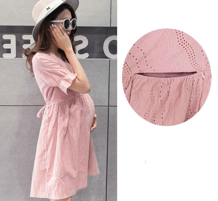 Lace Pregnant Maternity Dresses For Maternity Clothes Pregnancy Dress Nursing Dress Streetwear Breastfeeding Dress Outfits