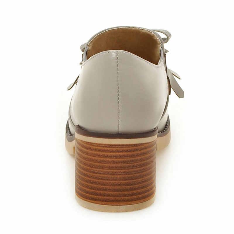 Fanyuan Stylish Phụ Nữ Giày Cao Gót Cô Gái Giản Dị Nền Tảng Máy Bơm của Phụ Nữ Bướm-knot trang trí Tua giày Bơm sapatos