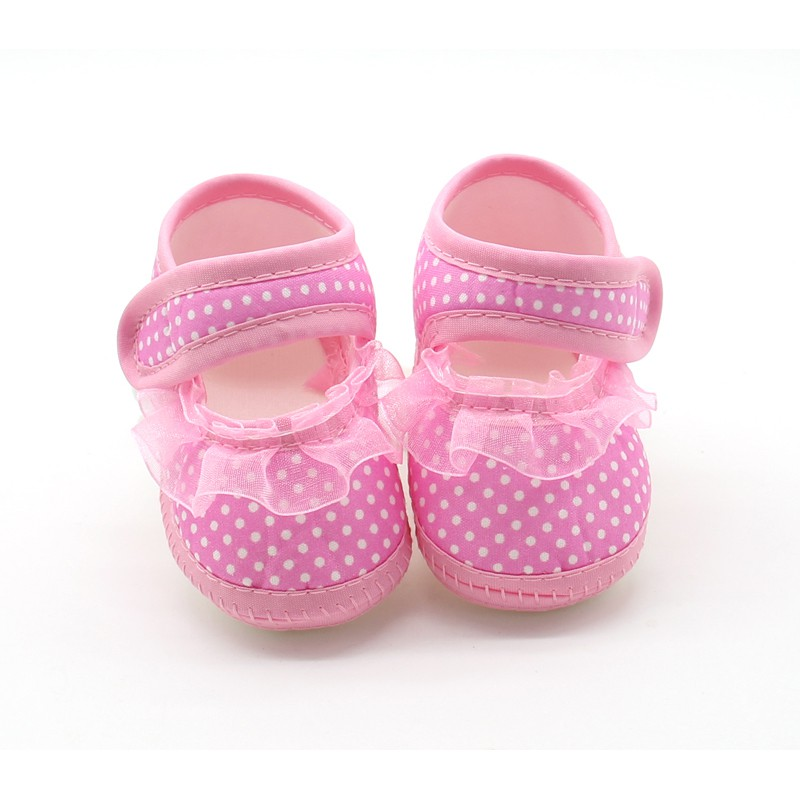 2018 0- 18 Months Baby Girl Soft Sole Shoes Lace Cloth Shoes Baby Girls First Walkers Toddler Bow Flower Footwear