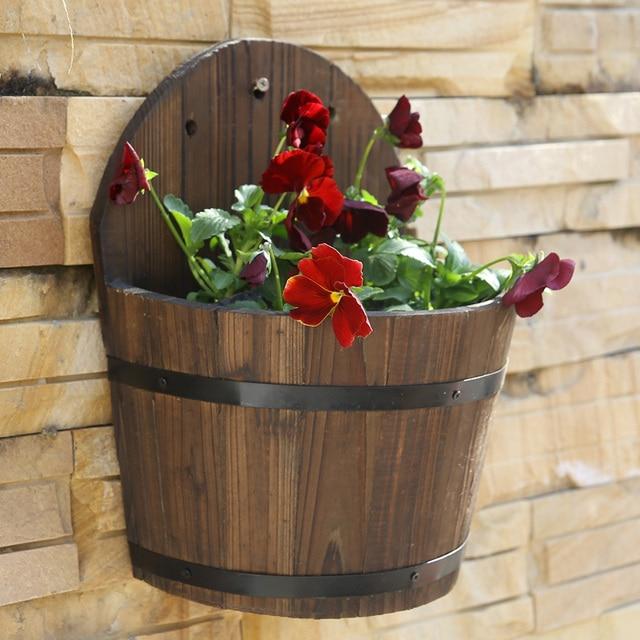 Pastoral Fir Wood Wall Mounted Flower Pots Wooden Half Barrel Wall Hanging  Flowers Basket Garden