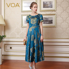 VOA Brand Blue Silk Women Vintage Dresses Maxi Short Sleeves Print Pleated Draped O-Neck Vestidos Female 2017 New Fashion A7733