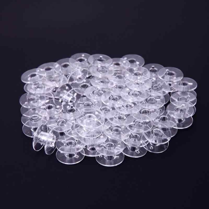 50 шт./лот прозрачные пластиковые пустые прозрачные бобины домашние швейные нитки катушки для швейных машин бобины аксессуары