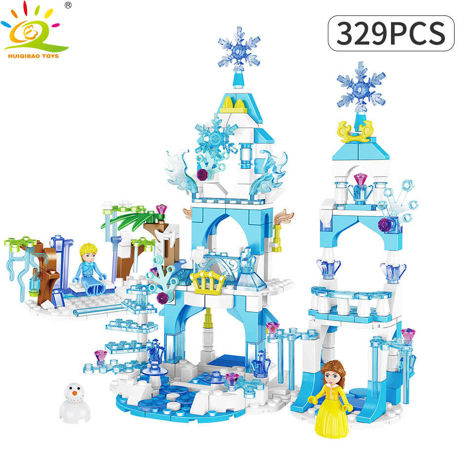 HUIQIBAO игрушки ледяной снег Мечта Замок принцесса строительные блоки комплект для девочек Legoingly друзья дом Анна Эльза Фигурки кубики «Олаф»