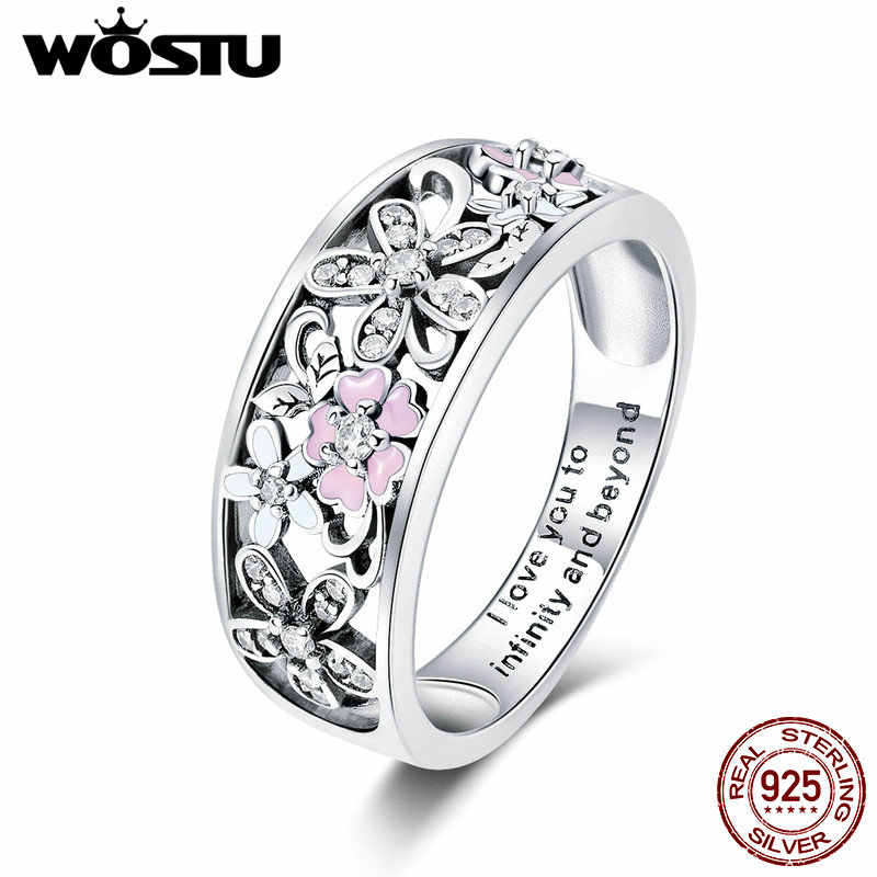 WOSTU Real 925 Sterling Silver Sparkling Stackable Flower 4mm Finger Rings For Women Silver Jewelry Party Wedding Gift CQR390