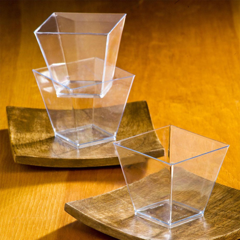 20pcs mini clear square trapezoid dessert cups ps plastic glasses cup mousse jelly pudding tiramisu cup
