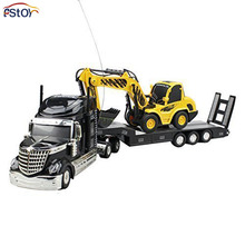 RC Car 6 Channel Long Hauler Vehicle Remote Control Platform 12 Rubber Tires Trailer Black with RC Excavator Tuck Toy