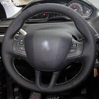빛나는 밀 핸드 스티치 블랙 가죽 스티어링 휠 커버 푸조 208 푸조 2008 자동차 스페셜