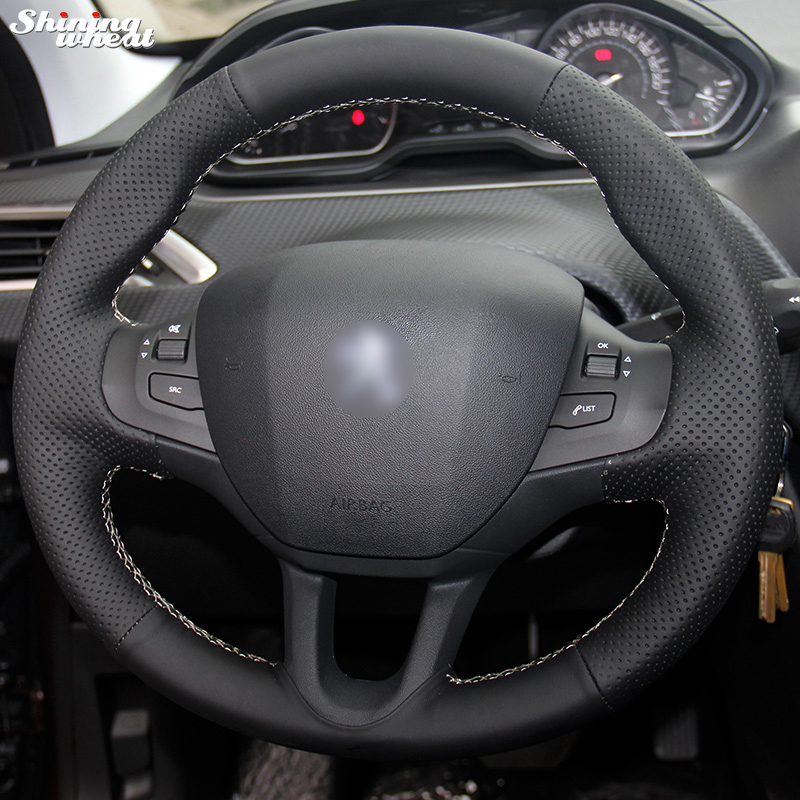 Shining wheat Hand stitched Black Leather Steering Wheel Cover for Peugeot 208 Peugeot 2008 Car Special