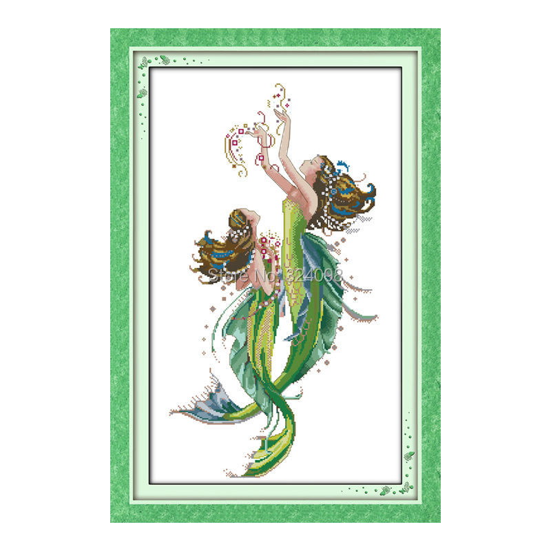 Commercio All'ingrosso Cucito, Punto, 11ct 14ct Cross Stitch, Set Per I Kit Da Ricamo, La Sirena (1) Contato Punto Croce