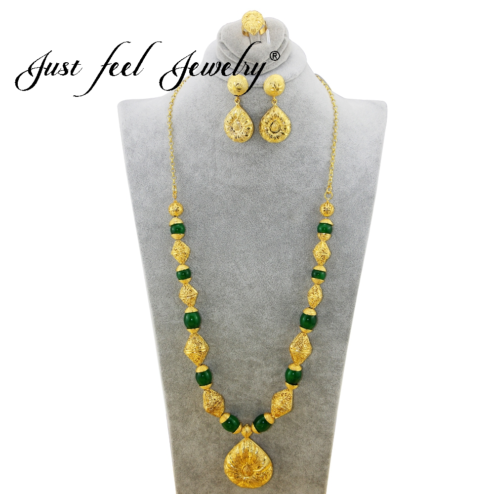 JUST FEEL India Style Gold Color Teardrop Pendant Necklace Earrings Ring Trendy 3 Colors Beads for Bridal Jewelry Accessories