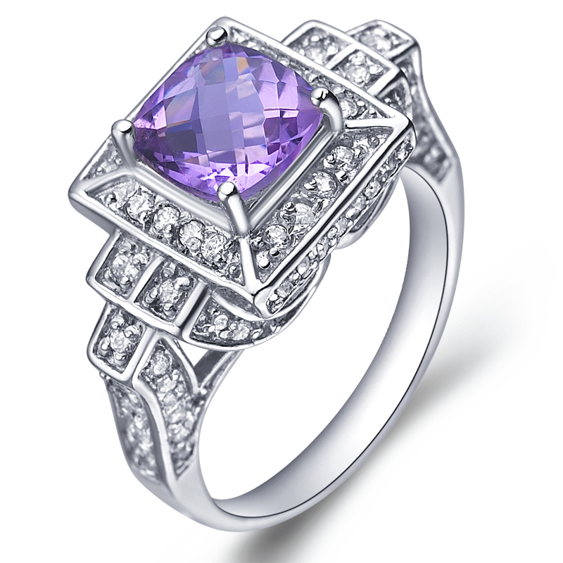 Natural Amethyst Ring 925 Sterling silver Purple Crystal Woman Fashion Fine Elegant Retro Jewelry Queen Birthstone Gift sr0093a natural green peridot ring 925 sterling silver crystal rose gold plated woman fashion fine elegant jewelry queen birthstone gift