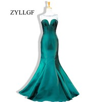 ZYLLGF Wedding Party Dresses 2018 Mermaid Sheer Scoop Beaded Backless Long Women Emerald Green Mother Of Bride Dress RS33