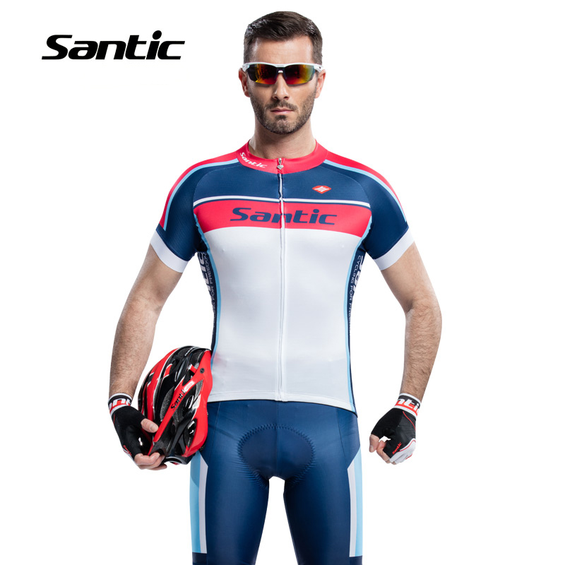 SANTIC Cycling Sport T-Shirt Shorts Suit Summer MTB Bike Short Sleeve Pants Quick-dry Breathable 4D Cushion Slim Sport Sets round neck stripe print fitted quick dry short sleeve men s t shirt suit t shirt shorts