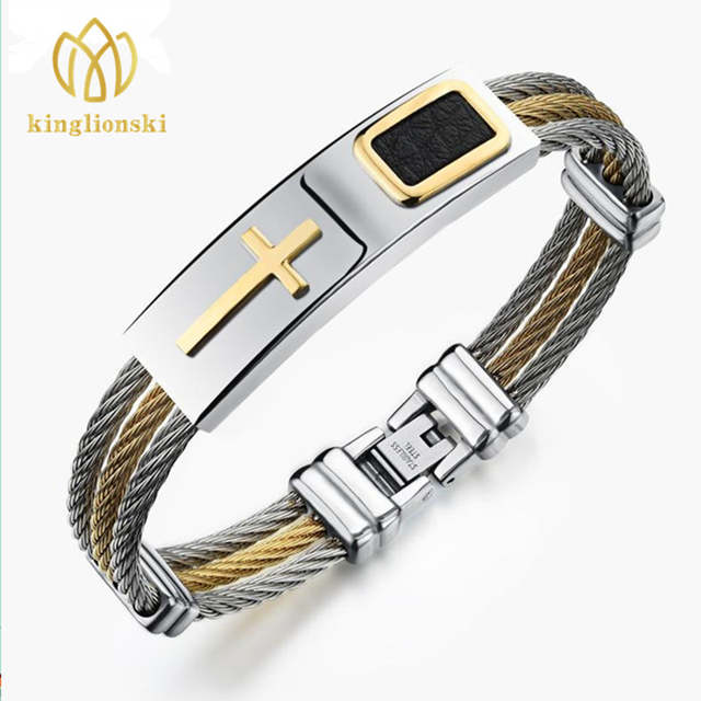 cdb6a79d83d4a5 placeholder Bracelet Men Gold Jesus Cross Stainless Steel Men Jewelry Rock  Bracelets & Bangles Leather Pulseira Masculina