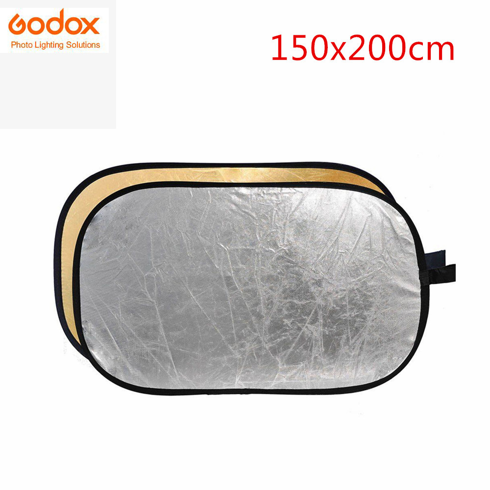 Godox 2-in-1 collapsible 150x200cm Lighting Diffuser Rectangle Reflector Disc Gold Silver include Bag Photography Accessory светоотражатель godox rft 01 gold silver 80x120cm