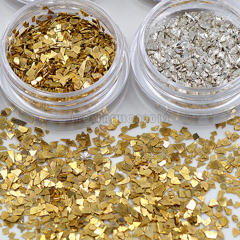 12 Jars 6 Gold 6 Silver Irregular Metal Fragments Shape Nail Art Rhinestones Gems Decals DIY Beauty Salon Tip 3d 12 candy colors glass fragments shape nail art sequins decals diy beauty salon tip free shipping
