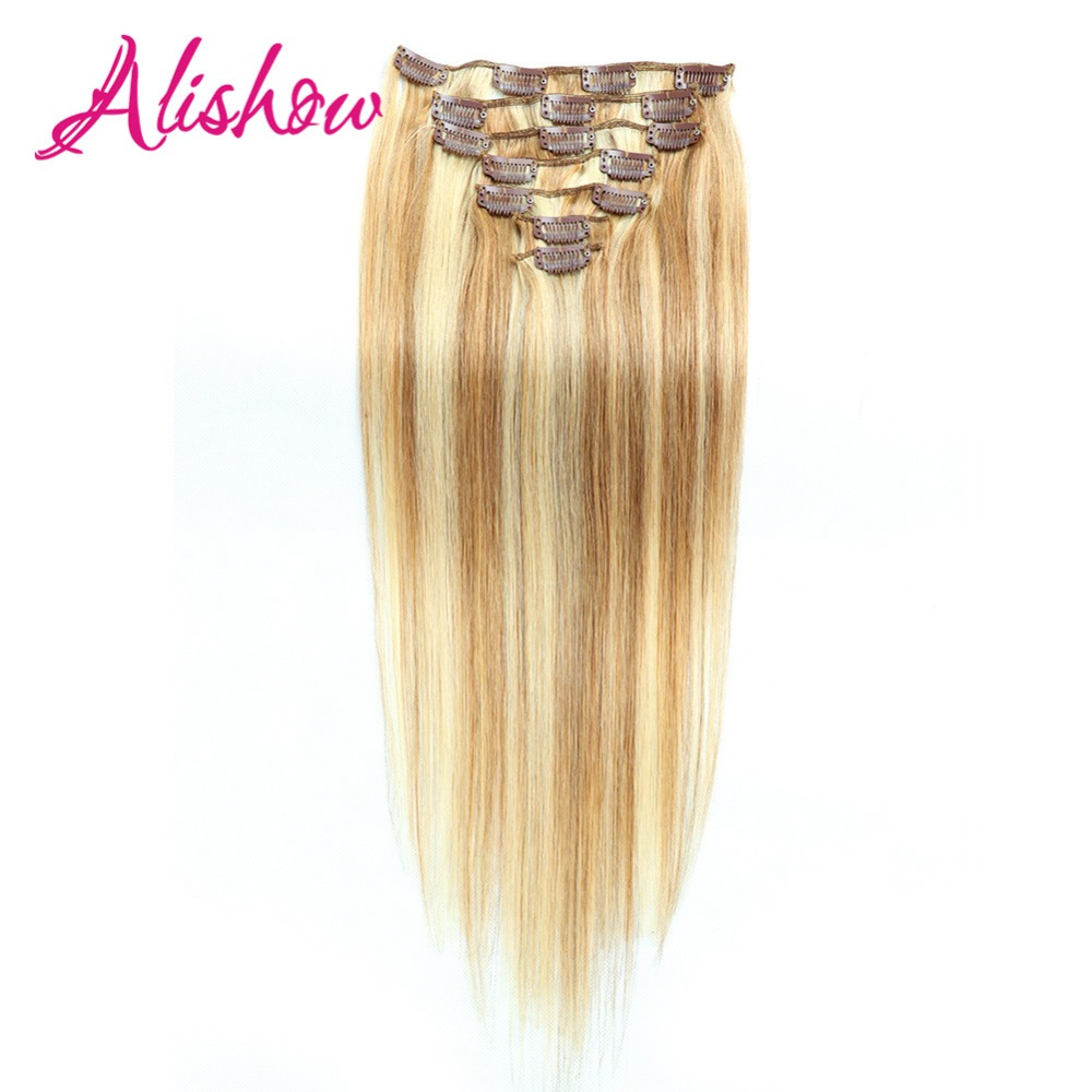 Alishow Human-Hair-Extensions Natural-Hair Clip-In Remy Straight 22inch 140g 10pcs Machine-Made