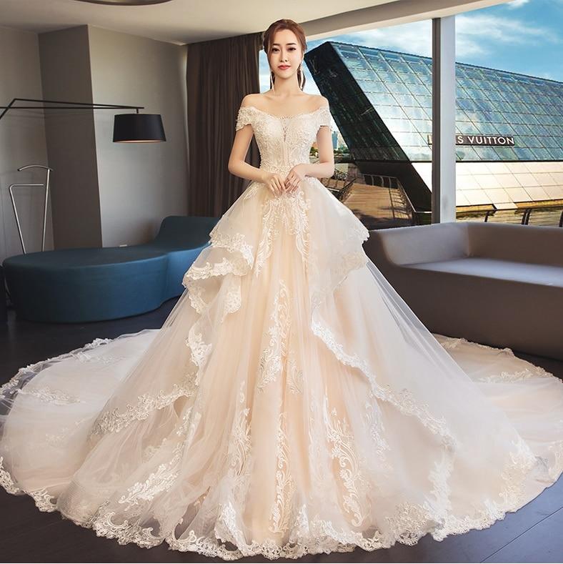 Vintage Champagne/White Long Train Wedding Dress 2019