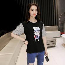 Cartoon Pattern T Shirts Short Sleeve Plus Size Women Summer Loose Tops Casual O-neck Cotton T-shirt Printed Tees Hot Sale Black