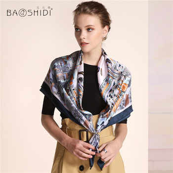 [BAOSHIDI]2016 Autumn New Arrival,16m/m Women 100%Silk scarf Luxury Brand,Square Pure Scarves,Traditional Chinese element scarfs