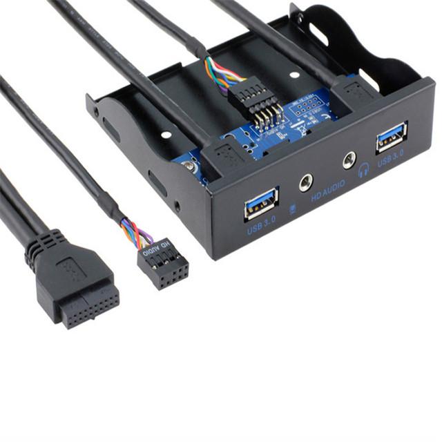 Mecall tecnologia 20Pin para 2 porto USB 3.0 HUB e HD de áudio de 3.5 - em PC Floppy painel frontal