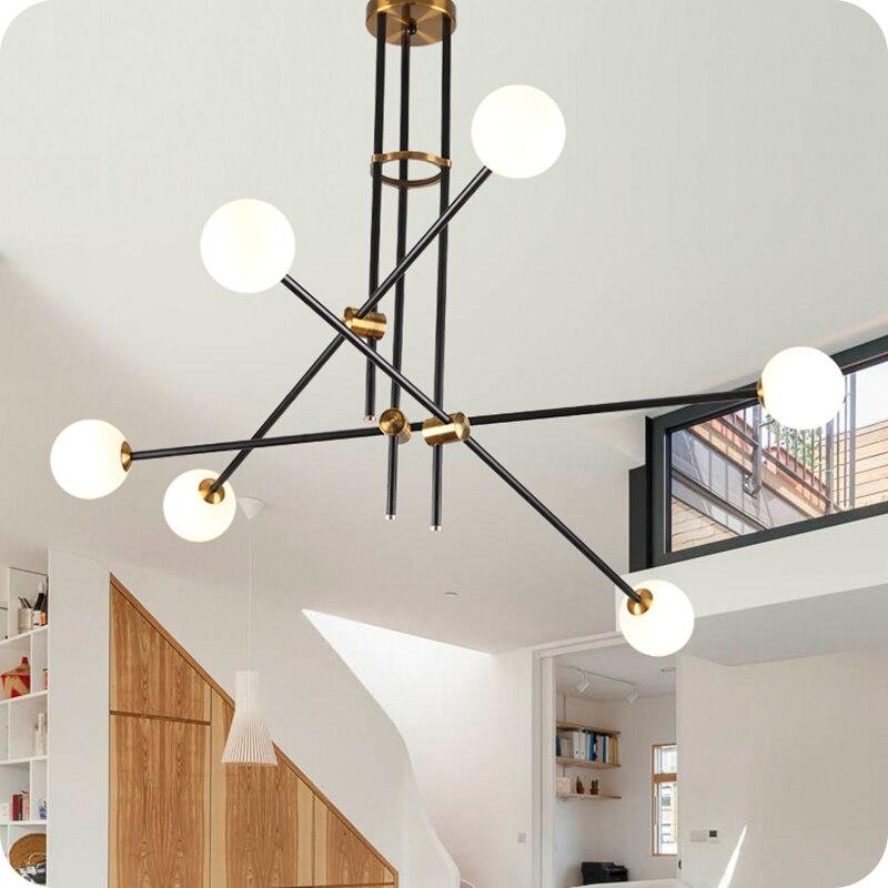 LuKLoy Post-Moderne Lustre, Branche Lumière Salon Salle Fer Modo boule en verre Simple Lignes Pendentif Lampe luminaire