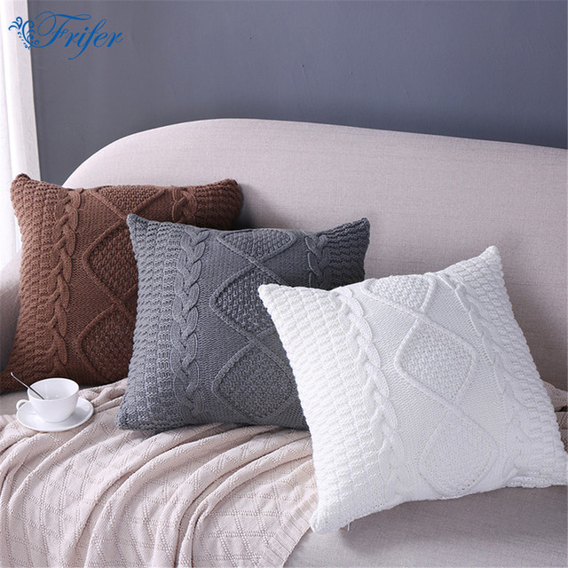 Knitted Wool Cushion Cover Super Soft Pillow Cover Solid Sofa Waits Bedroom  Decorative Pillows Capa Square