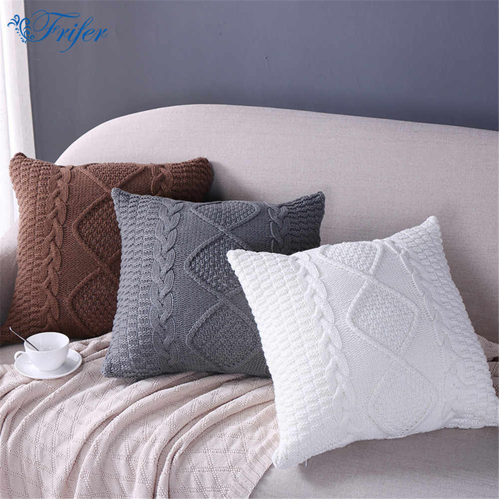 Marvelous Knitted Wool Cushion Cover Super Soft Pillow Cover Solid Sofa Waits Bedroom Decorative Pillows Capa Square Throw Pillows Covers Theyellowbook Wood Chair Design Ideas Theyellowbookinfo
