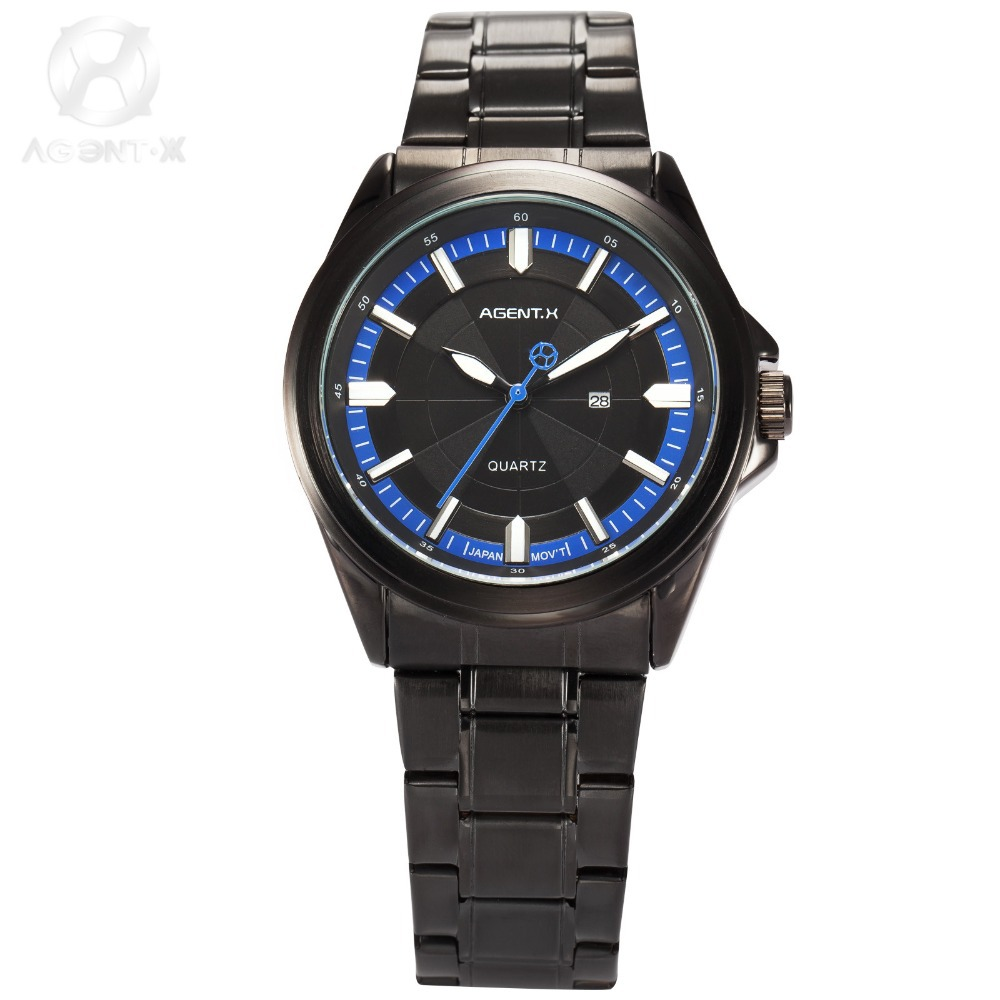 AGENTX New relogio masculino Full Steel Band Black Blue Date Display Japan Movement Sport Quartz Business Men Wrist Watch/AGX123 la vitesse fatale agentx original casual business analog steel band silver case japan movement quartz mens wrist watch agx094