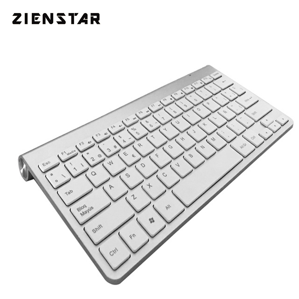 Zienstar Spanish Language Ultra Slim 2.4G Wireless Teclado für Macbook / PC Computer / Laptop / Smart TV mit USB-Empfänger