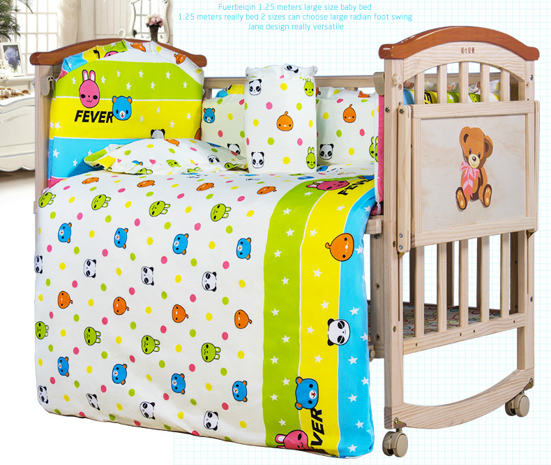 3b74cf6df782 High Quality No Paint Pine Wood Baby Bed Multifunctional Baby Crib ...