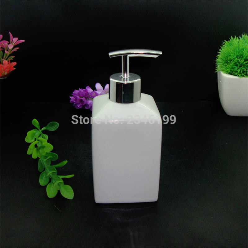430ml 2pcs White Ceramic Soap Dispenser Bottle Emulsion Lotion Pump Disinfecting Water Container Hotel Bathroom Accessories