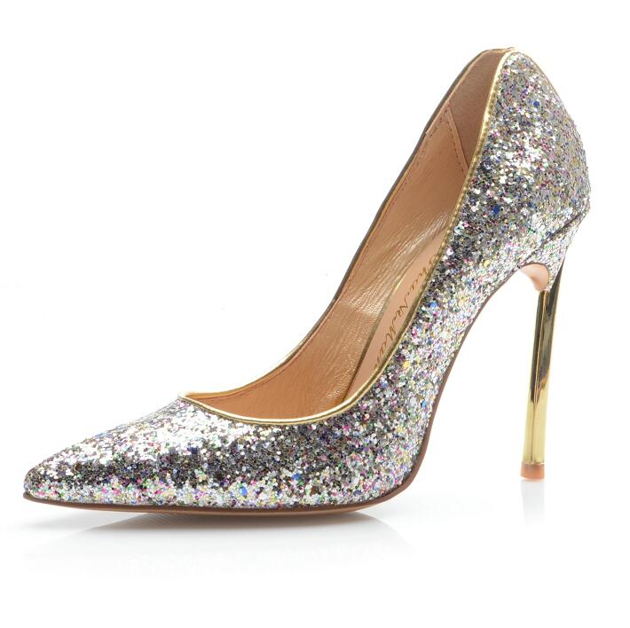 Newest Silver Bling High Heel Pumps Women Pointed Toe Metal Heels Shoes Sexy Shallow Comfortable Spring Party Shoes newest flock blade heels shoes 2018 pointed toe slip on women platform pumps sexy metal heels wedding party dress shoes
