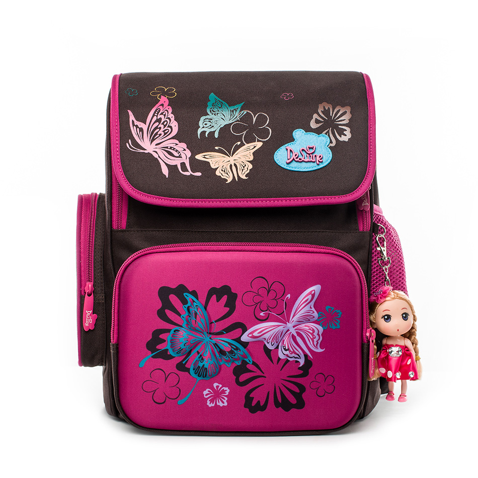Delune Brand Primary Students Kids Animal Character School Bags Girls 3D Cartoon Butterfly Floral Orthopedic Bag