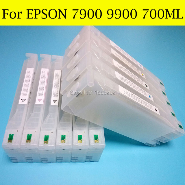 700MLX11 Color Empty Refill Ink Cartridges For Epson 7900 9900 7910 9910 Printer With Chip Resetter