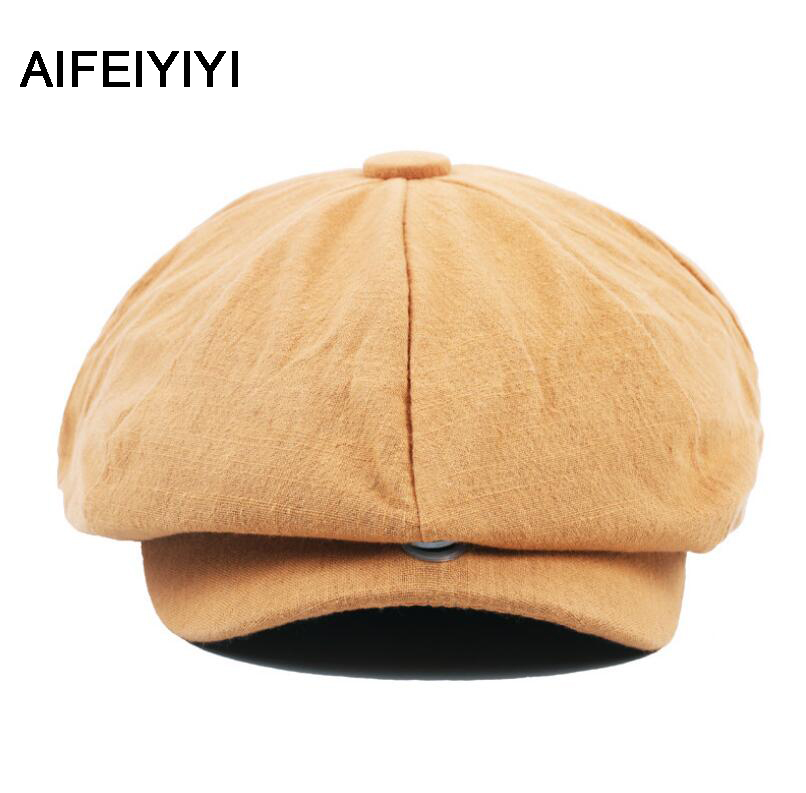 2018 AIFEIYIYI octagonal cap winter male British style retro linen painter hat solid color stitching fashion hat