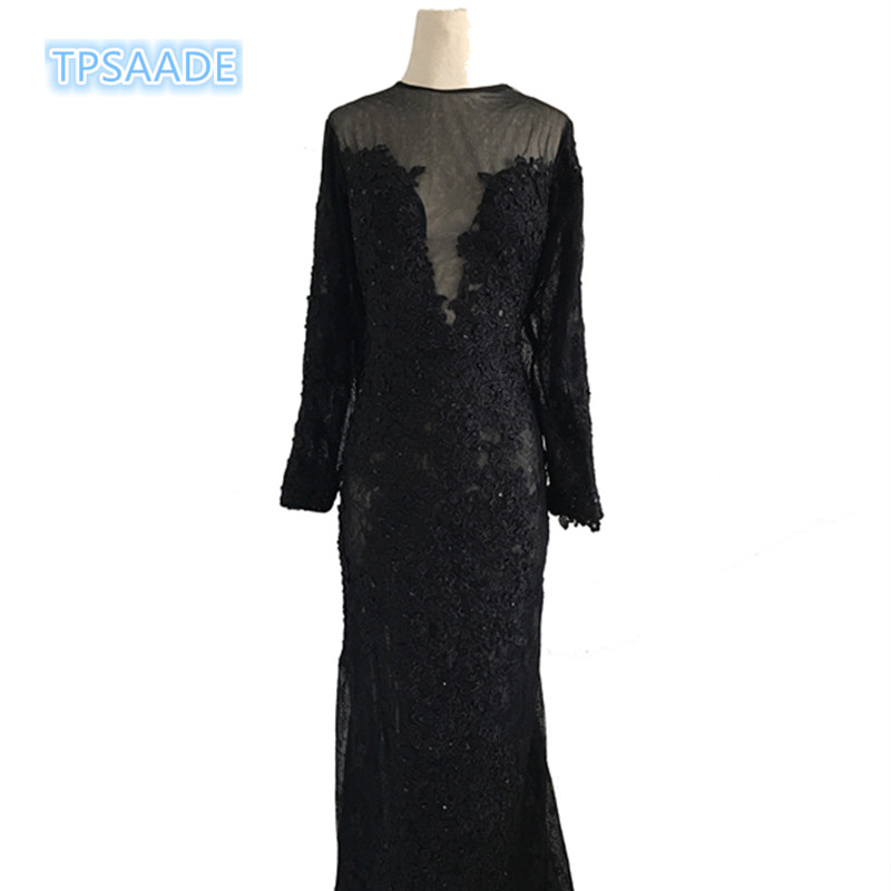 Elegant mermaids long Sleeve Sequin black lace Evening Dress prom Party Dresses robe de soiree 2017 Formal Gown Women Dress
