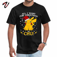 Merry Christmas Pikachu Tshirts for Men Pokemon Snorlax Custom Birthday Tops T Shirt NEW YEAR DAY Cotton Casual Camiseta