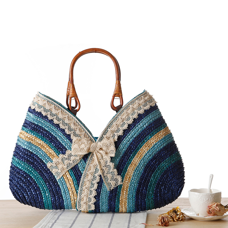 Two Package Date Line Pattern Lace Lace Handbag Package Colour Straw Package Woman Package Sandy Beach Package Blockhead