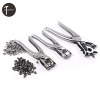 3 STKS Klinknagels Hand Tangen Belt Perforator, Druk Stud Tang, Oogje Tang + 200 STKS Bead Metalen Gesp Voor Tas Lederen Ponsen
