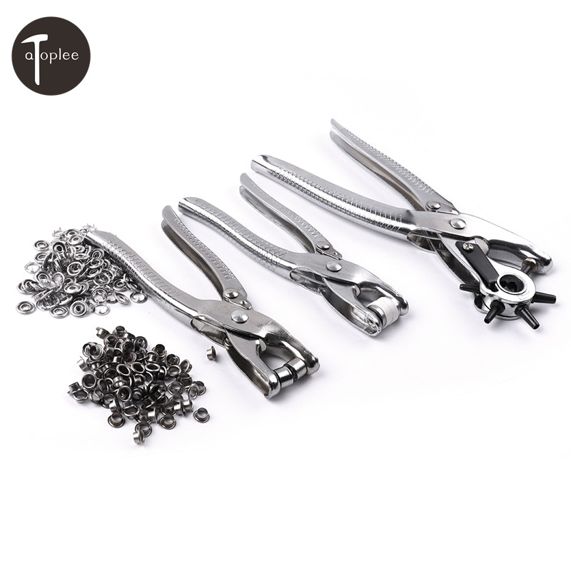 3PCS Rivets Hand Pliers Belt Hole Punch,Press Stud Plier,Eyelet Plier+200PCS Bead Metal Belt Buckle For Bag Leather Punching 128pcs puncher heavy duty leather revolving hole punch hand pliers belt holes punches 2 2 5 3 3 5 4 4 5mm repair tool