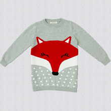 New Cute Kids Fox Knitted Pullover Sweaters Boys and Girls Embroidery Fall Winter Cute Tops Blouse