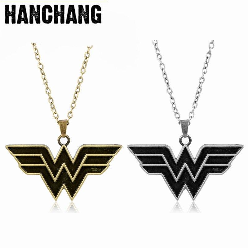 Dc comics maravilha mulher logotipo pingente collier geek colar link corrente colar marvel super heróis cosplay jóias
