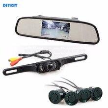 Diykit 3 в 1 DIY 4.3 дюймов заднего вида автомобиля зеркало Мониторы комплект + Видео парковочный радар + IR автомобиль камера Парковочные системы Системы