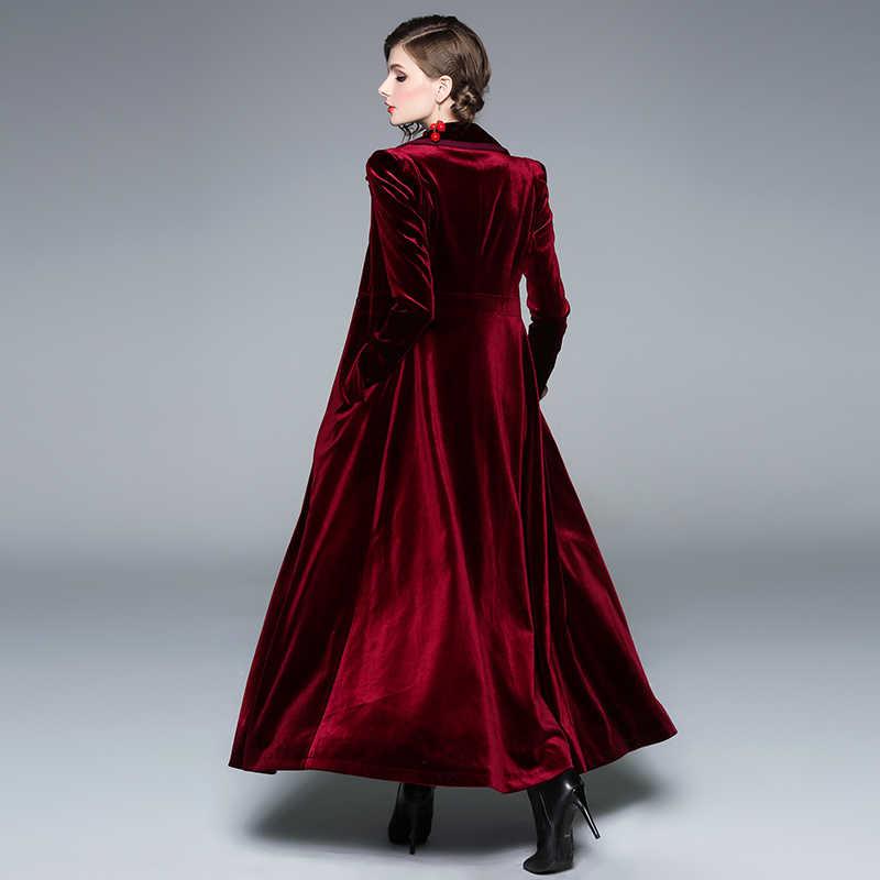 Роскошные дизайнерские женские модные жакеты воротник с лацканами длинный рукав обертывание повседневное длинное бархатное темно-красное пальто Макси уличная верхняя одежда s-xxl
