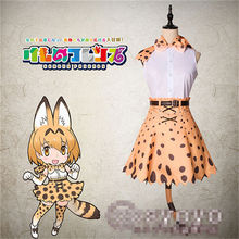 Japanese Anime KEMONO FRIENDS Leptailurus serval yellow Cosplay Costume dress suit P