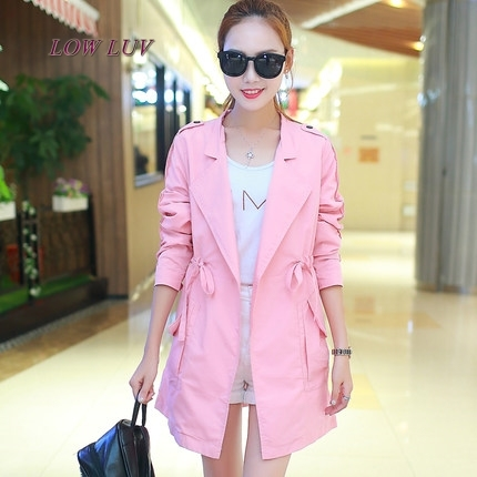 2017 spring new large size loose loose thin coat female models in the spring and autumn long women's style windbreaker cardigan